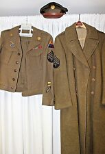 WW2 US Army Sergeant 4th Armored Division Ike Jacket Uniform , Long Wool Coat,H