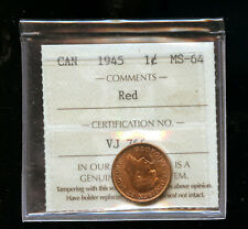 1945 - RED - Canada Penny - Graded - ICCS MS64 DCB250