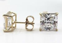 4 Ct Princess Cut Lab Diamond Solid Real 14K Yellow Gold Stud Earrings Push Back