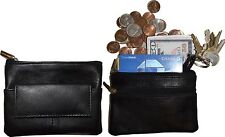 Change purse, Zip coin wallet, Leather change purse w/key ring cards, bills #41