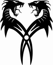 TWIN DRAGON HEAD ROARING CAR DECAL STICKER