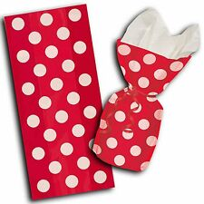 20 Polka Dot Spot Red Birthday Treat Loot Gift Party Bags with Twist Ties