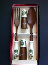Vtg Server Set Wooden Spoon & Fork with Salt & Pepper Shakers Deer Rocky Mtn Ntl