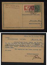 Austria  postal card , Bauer Co, special  handling stamp 1919      KEL1228