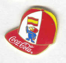 1998 WORLD CUP COCA COLA SPAIN BALL CAP PIN WITH MASCOT FOOTIX AND FLAG