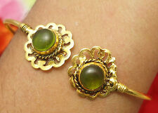 ADJUSTABLE CUFF BRACELET BANGLE PERIDOT GEMSTONE 18K GOLD PLATED JEWELRY