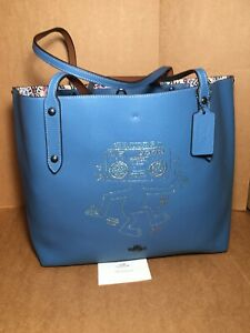 NWT Sky Blue 28644 Coach X Keith Haring Boombox Monster Market Tote 28646