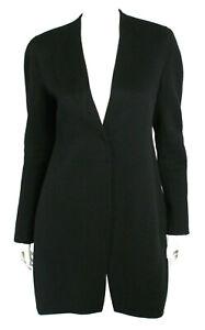 DONNA KARAN COLLECTION Black Pure Cashmere Collarless Snap-Front Coat 8