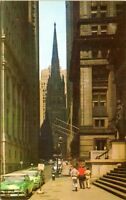 1950s Wall Street View Treasury Building Trinity Church Chrome NYC Postcard AL