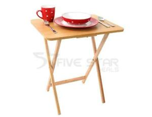 NATURAL WOOD FOLDING SNACK TABLE GARDEN PARTY FOLDABLE FOOD TABLE DESK