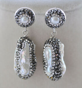P7069 27mm White Biwa Pearl Inlay CZ Dangle Earring