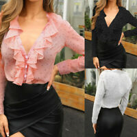 Women Ruffled Frill V Neck Shirt Blouse Ladies Polka Dot Long Sleeve OL Work Top