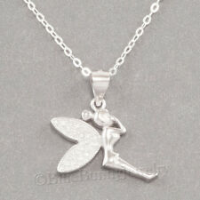TINKERBELL Fairy Charm Pendant STERLING SILVER & 925 Necklace cz wings