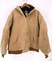 Vintage Carhartt Mens Work Jacket Brown Quilted Lined Hooded Union Made USA 2XL