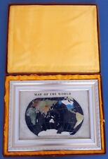 Gemstone Globe LAPIS BLU semi preziose pietre intarsiati Mappa del mondo Foto BOX RARO