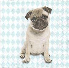 2 Serviettes en papier Chien Carlin - Paper Napkins Dog Mops