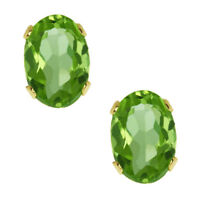 1.00 Ct 6x4mm VS Oval Peridot 14K Yellow Gold Stud Earrings 6X4mm