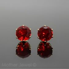 GORGEOUS LARGE 8MM BRIGHT RUBY RED CZ YELLOW GOLD PLATED ROUND EARRINGS STUDS