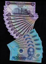 5 x 20,000 Vietnam Dong Banknotes + 10 x 50 Iraq Dinar Banknotes - Uncirculated