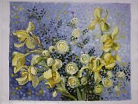 ORIGINAL OIL STRETCHED PAINTING IRISES DOGROSES FLOWERS ART BY ARTIST