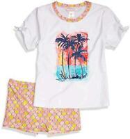 Tommy Bahama Girls' 2-Piece Rashguard and Swim Bottoms Set, White/Palms, Size 16