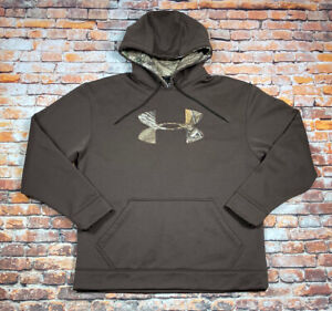 (A10455) Under Armour Mens Camo Hunting Hoodie Realtree Large L Loose Brown