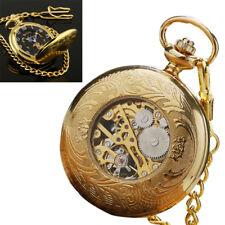 Mens Mechanical Watch Pocket Skeleton Black Gold Chain Retro Vintage Wind-Up NEW