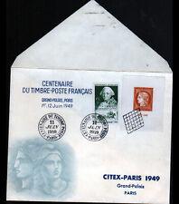 """ENVELOPPE 1° JOUR """"CENTENAIRE DU TIMBRE"""" Oblitération Flamme postale CITEX 1949"""