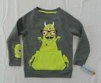 New Boys Size 3T Gray Sweatshirt Monster Googly Eye Cat Jack Halloween Soft