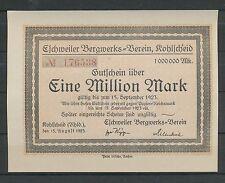 Kohlscheid, Eschweiler Bergwerks-Verein, 1 Mio, 15.8.23  Notgeld  Reinland (1