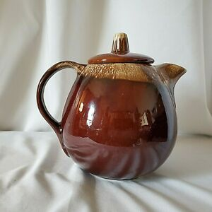Cute Little Brown Glazed Teapot with Dripping Affect