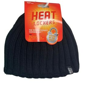 Heat Lockers Mens One Size Thermal Knit Winter Hat Black Faux Fur Lined NEW