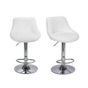 2 PCS Bar Stools Leather Modern Hydraulic Swivel Pub Chair Barstool White Color
