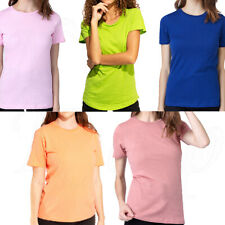 Women T Shirt Round Crew Neck Top Short Sleeve Summer Lady Plain Solid Thin Tee