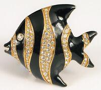 VINTAGE RETIRED SWAROVSKI TROPICAL ANGEL FISH BROOCH BLACK ENAMEL RHINESTONES !