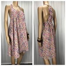 ** MISS SHOP LA DE DA ** Sz 10 Pink Blue Print Ruffle Back Summer Dress - (B195)