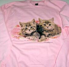 """Two Gray Kittens"" -  Gildan  (pink) Fleece Long Sleeve Crew Neck Sweatshirt"