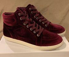 J/slides NYC Burgundy Velvet Clique Sneakers High Hi Top Tops Womens 9.5 M Shoes