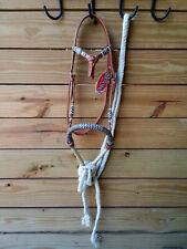 Brown Futurity Knot Headstall Bitless Bridle Bosal Hackamore & Mecate Reins 3311