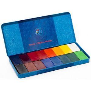 Tin of 16 Block Stockmar Non-Toxic Beeswax Wax Crayons in Waldorf Colors 628505