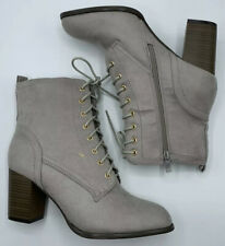 Women's Gray Lace Up High Heel Combat Boots Size 10