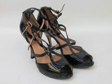 Max Mara Damas Charol Negro Peep Toe Zapatos Tacón Stiletto UK6.5 IT39.5