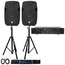 """2 Rockville SPGN104 10"""" 800w DJ PA Speakers+Rocville RPA5 1000w Amplifier+Stands"""