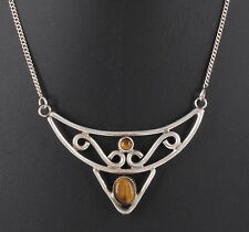 STRLING SILVER TIGERS EYE STONES NECKLACE 925 FINE 1138B
