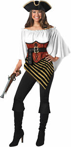 Pirate Lady Poncho Set Women's Buccaneer Halloween Costume One Size