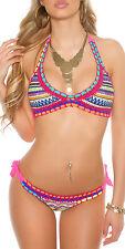 Boho aztec crochet bikini pink size 10 12 14 adjustable halter neck colourful