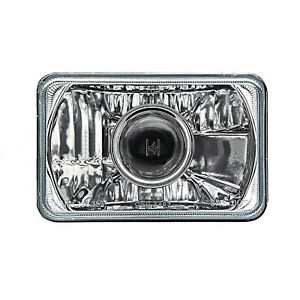 "SINGLE 4X6"" Projector Crystal Clear Glass/Metal Headlight H4 Light Bulb Headlamp"