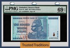 TT PK 91 2008 ZIMBABWE 100 TRILLION DOLLARS RESERVE BANK PMG 69 EPQ SUPERB GEM