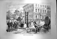 Original Old Antique Print 1873 Scene Vienna Watering Streets People Victorian