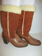 Vintage Womens Size 8.5 Brown Tall Suede Shearling Lined Cowboy Boots with Heel